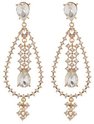 Free Press Ornate Crystal Teardrop Earrings