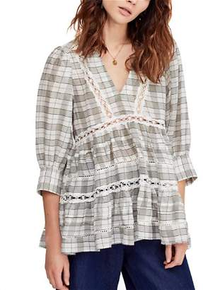 Free People Time Out Plaid Crochet Trim Tunic