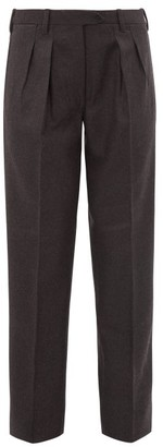 Giuliva Heritage Collection The Husband High Rise Wool Trousers - Womens - Dark Grey