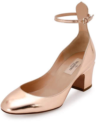 Valentino Tan-Go Ankle-Strap 60mm Pump, Rose Gold $845 thestylecure.com