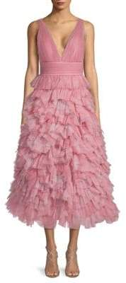 Marchesa Plunging Ruffled Tulle Dress