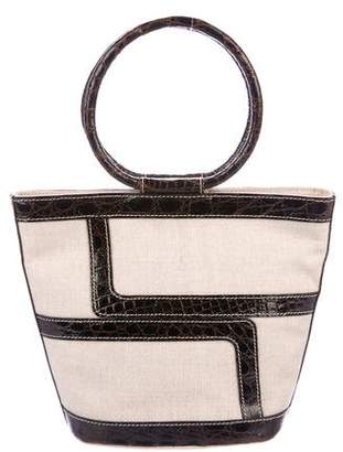 Lana Marks Alligator-Trimmed Canvas Handle Bag