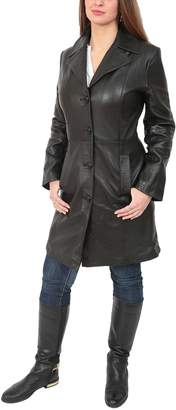 House of Leather Ladies 3/4 Length Soft Leather Classic Long Single Breasted Coat Macey