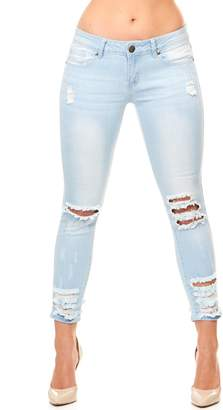 Cover Girl Women's Cropped Ripped Distressed Skinny Jeanss