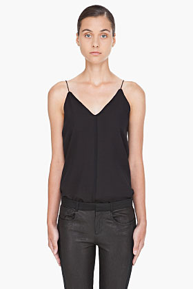 T BY ALEXANDER WANG Black Silk Cami Tank Top