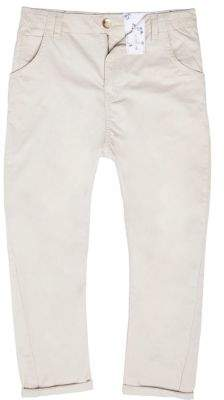 River Island Boys stone tapered chino pants