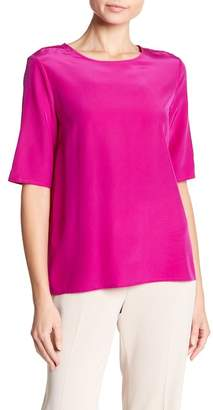 Badgley Mischka Silk Short Sleeve Blouse