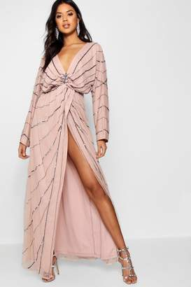 boohoo Boutique Batwing Embellished Maxi Dress