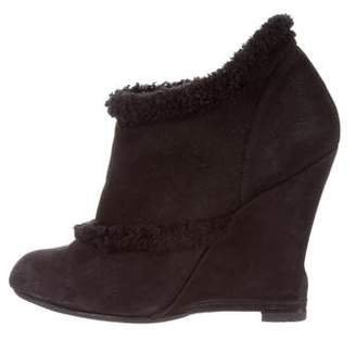 Lanvin Shearling-Trimmed Wedge Booties