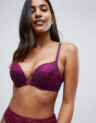 Hunkemoller Theresa lace plunge push up maximiser bra in purple