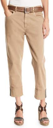 Brunello Cucinelli Monili-Trimmed Straight-Leg Jeans