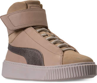 Puma Women's Basket Platform Strap Mid Up Casual Sneakers from Finish Line