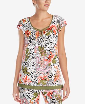 Ellen Tracy Floral-Print Flutter-Sleeve Pajama Top