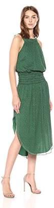 Halston Women's Sleeveless Round Neck Printed Ruched Maxi