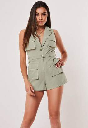 Missguided Khaki Pocket Detail Utility Romper