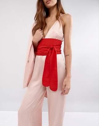 Asos Red Fabric Obi Belt