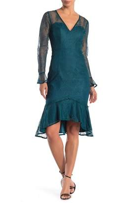 Lumier Olivia Floral Lace Ruffle Midi Dress