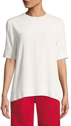 Derek Lam Jewel-Neck Short-Sleeve Georgette Blouse with Cuff Detail
