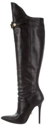 Versace Leather Pointed-Toe Boots