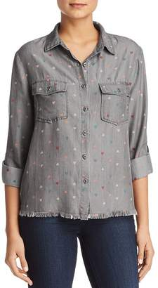 BILLY T Heart Print Button-Down Chambray Shirt