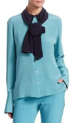Victoria Beckham Victoria, Silk Tie-Collar Blouse