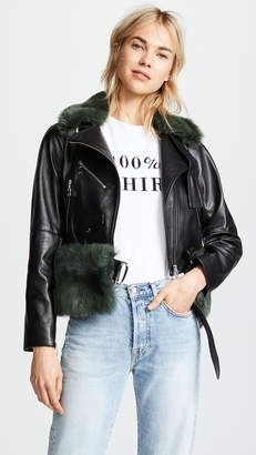 Moto Adeam Jacket with Removable Shearling Collar and Belt