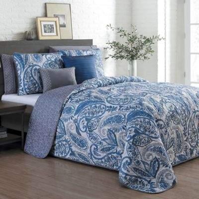 Seville Reversible King Quilt Set in Blue