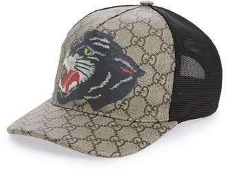 Gucci Hanry J Wolf Canvas Baseball Cap