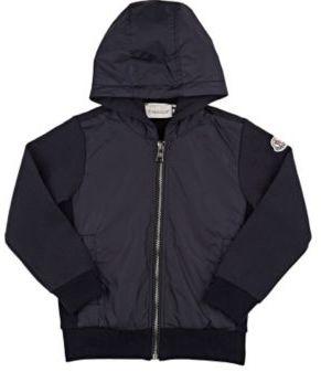 Moncler Men's Fleece & Tech-Fabric Zip-Front Hoodie-NAVY $345 thestylecure.com