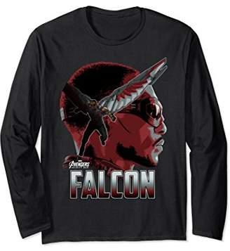 Marvel Infinity War Falcon Big Head Profile Long Sleeve Tee