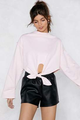 Nasty Gal Give It Your Best Knot Cropped Sweatshirt