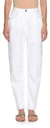 Etro High-Waist Straight-Leg Denim with Sequin Embroidery