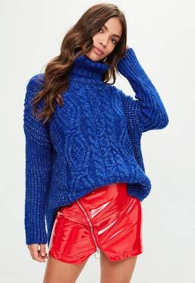 Missguided Blue Oversized Cable Sweater