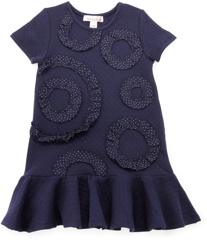 Halabaloo Diamond Fleece Polka-Dot Ruffle Dress, 4-6X