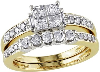 Affinity Diamond Jewelry Cluster Diamond Ring Set, 14K Yellow Gold, by Affinity