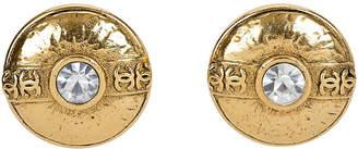 One Kings Lane Vintage Chanel Round Crystal Clip Earrings - Vintage Lux