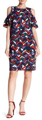 Nine West Painted Chevron Cold Shoulder Scuba Dress