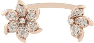 Artisan Between The Finger Flower Diamond Ring In 18K Gold