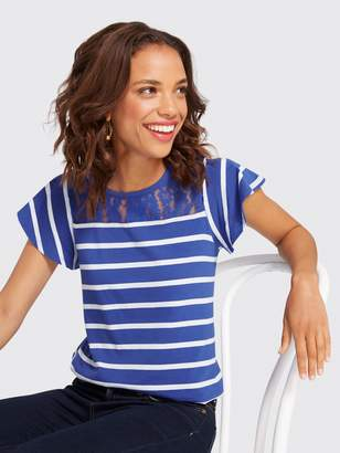 Draper James Spirit Lace Stripe Tee