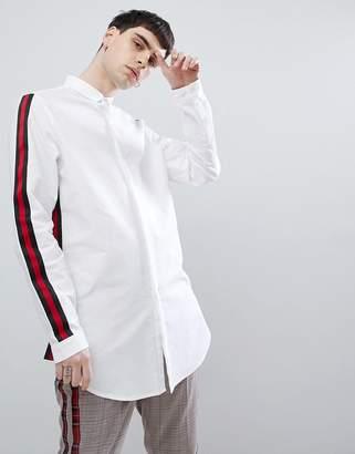 Asos DESIGN regular fit super longline oxford shirt with taping