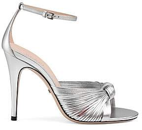 Gucci Women's Crawford Metallic-Leather Knot d'Orsay Sandals