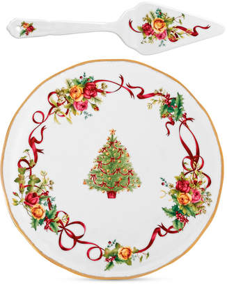 Royal Albert Dinnerware, Old Country Roses Holiday Cake Plate & Server