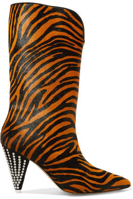 Betta Crystal-embellished Tiger-print Calf Hair Knee Boots - Leopard print