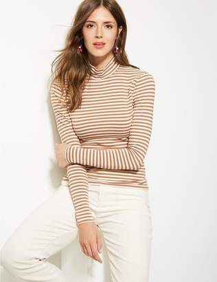Marks and Spencer Cotton Rich Striped Long Sleeve T-Shirt