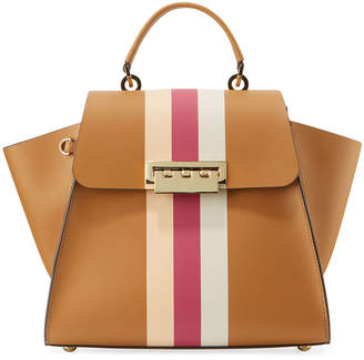 Zac Posen Eartha Iconic Racing Stripes Leather Crossbody Bag, Camel