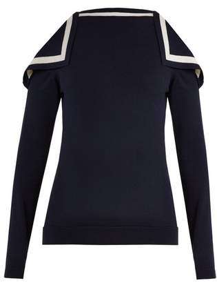 Oscar de la Renta Cut Out Shoulder Silk Blend Knit Sweater - Womens - Navy White