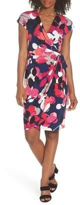 Maggy London Berry Floral Wrap Dress