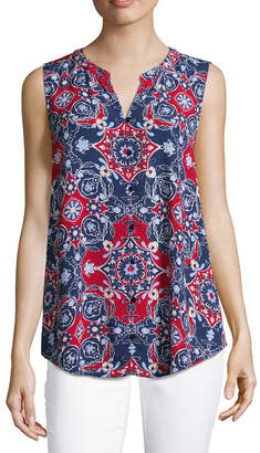 Liz Claiborne Sleeveless Split Neck Floral Woven Blouse
