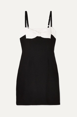 STAUD - Vertigo Bow-embellished Cotton Mini Dress - Black