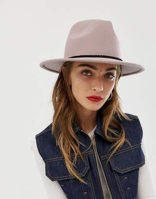 Asos Design DESIGN felt panama hat with plait braid trim and size adjuster